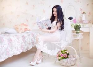 Braut in Dessous