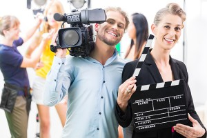Kamerateam filmt Hochzeitsvideo