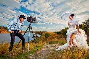 Fotograf erstellt Vintage Hochzeitsfoto