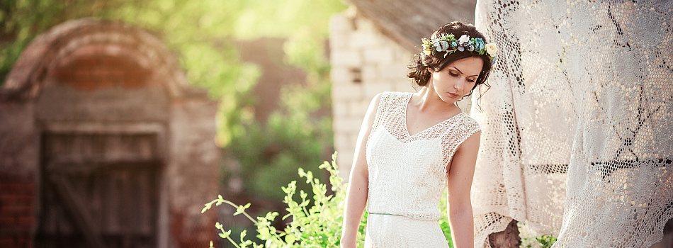 Braut in schönem Garten