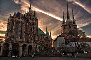 Erfurt Dom bei Nacht