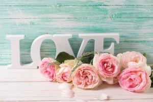 Hochzeitsdeko mit rosa Rosen, weisse Love Schriftzeichen