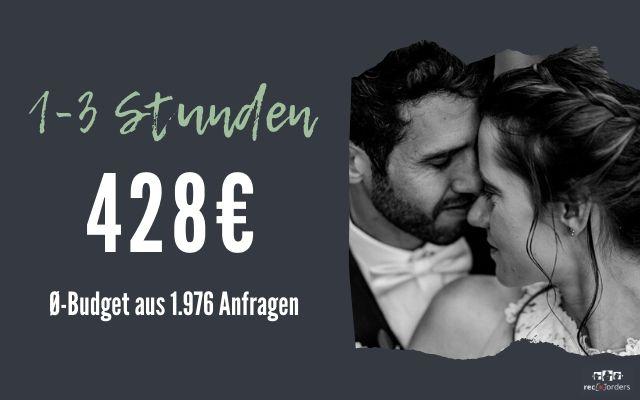 Budget für Hochzeitsfotografie bis zu 3 Stunden