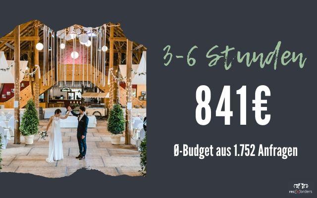 Budget für Hochzeitsfotografie bis zu 6 Stunden