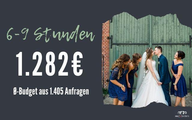 Budget für Hochzeitsfotografie bis zu 9 Stunden